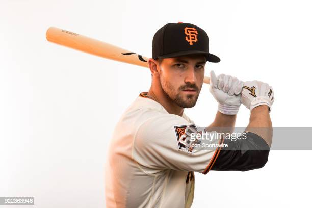 Outfielder Steven Duggar poses for a photo during the San Francisco Giants photo day on Tuesday Feb 20 2018 at Scottsdale Stadium in Scottsdale Ariz
