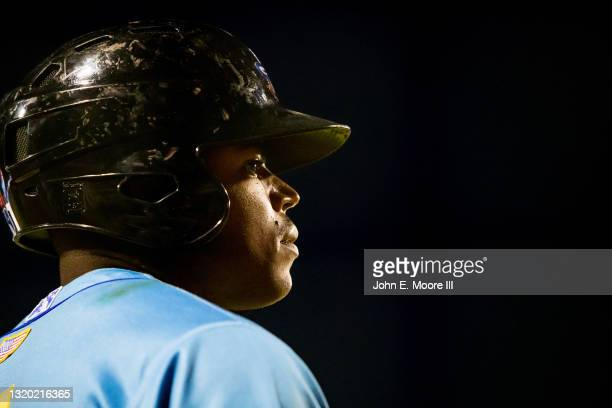 Outfielder Stone Garrett of the Amarillo Sod Poodles stands on deck during the game against the Midland RockHounds at HODGETOWN Stadium on May 22,...