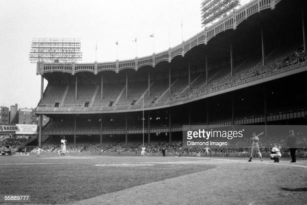 Outfielder Ted Williams of the Boston Red Sox at bat during a game on September 29 1956 against the New York Yankees at Yankee Stadium in New York...