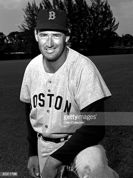 Outfielder Ted Williams of the Boston Red Sox poses for a portrait during March 1956 Spring Training in Florida