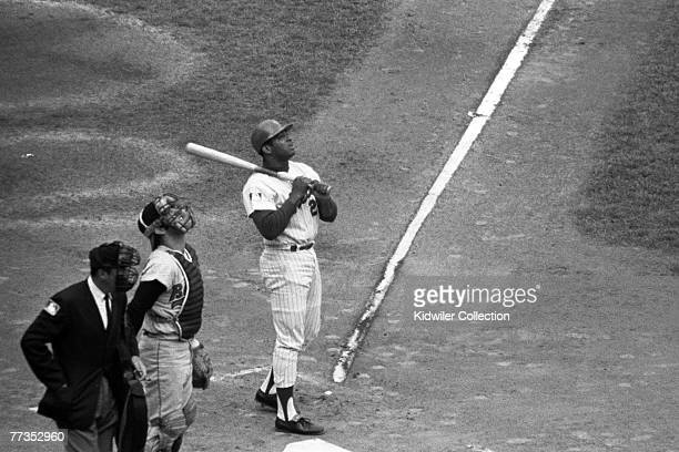 Outfielder Tommie Agee of the New York Mets watches a ball go into foul territory during Game 5 of the World Series on October 16 1969 against the...