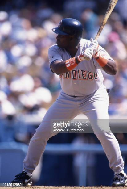 Outfielder Tony Gwynn of the San Diego Padres at bat against the Los Angeles Dodgers circa 1991 during a MLB baseball game at Dodger Stadium in Los...