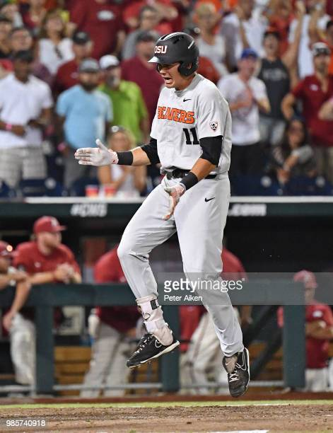 Outfielder Trevor Larnach of the Oregon State Beavers reacts after hitting a two run home run to give the Beavers a 53 lead in the ninth inning...
