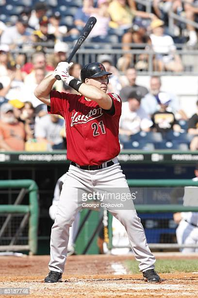 Outfielder Ty Wigginton of the Houston Astros bats against the Pittsburgh Pirates at PNC Park on September 21 2008 in Pittsburgh Pennsylvania The...