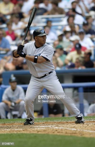 Outfielder Vernon Wells of the Toronto Blue Jays waits for a New York Yankees pitch during the game at Yankee Stadium on August 9 2004 in the Bronx...