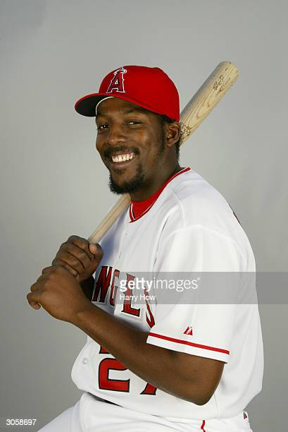 Outfielder Vladimir Guerrero of the Anaheim Angels poses for a portrait during the 2004 MLB Spring Training Photo Day at Tempe Diablo Stadium on...