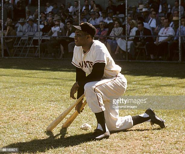 Outfielder Willie Mays of the New York Giants in the on deck circle during a Spring Training game against the Baltimore Orioles in March 1957 in...