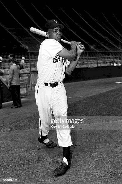 Outfielder Willie Mays of the New York Giants poses for a portrait prior to a game in 1951 at the Polo Grounds in New York, New York.