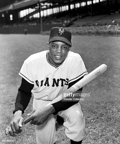 Outfielder Willie Mays of the New York Giants poses for circa 1952 or 1954 team portrait at the Polo Grounds in New York City New York Mays went into...