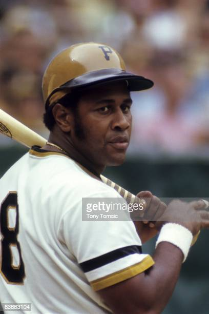 Outfielder Willie Stargell of the Pittsburgh Pirates awaits his next at bat in the on deck circle during a game in July 1971 at Three Rivers Stadium...