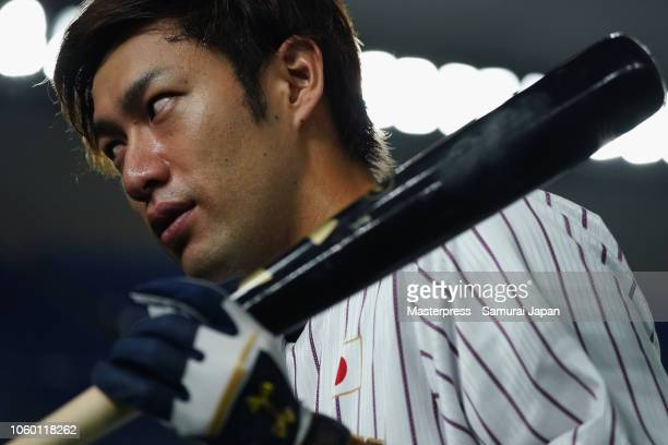 Outfielder Yuki Yanagita of Japan is seen prior to the game three of Japan and MLB All Stars at Tokyo Dome on November 11, 2018 in Tokyo, Japan.