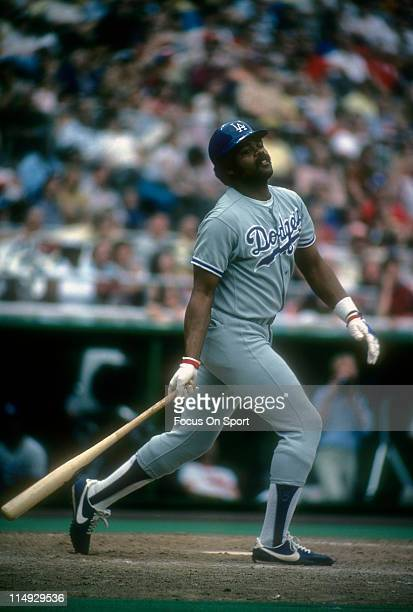 Outfielder/First Baseman Reggie Smith of the Los Angeles Dodgers swings at a pitch during a Major League Baseball game circa 1978 Smith played for...