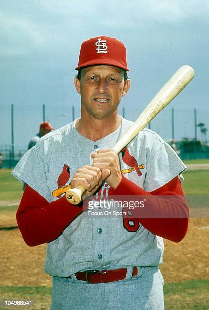 Outfielder/First Baseman Stan Musial of the St Louis Cardinals holds his bat on his shoulder and poses for this photo prior to the start of a Major...