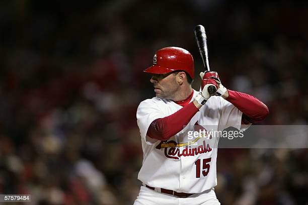 Outfielders Jim Edmonds of the St Louis Cardinals waits for a Pittsburgh Pirates pitch on April 25 2006 at Busch Stadium in St Louis Missouri The St...