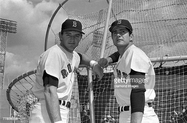 Outfielders Ken 'Hawk' Harrelson and Carl Yastrzemski of the Boston Red Sox pose for a portrait behind the batting cage prior to a game in 1967 at...
