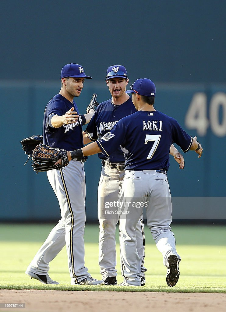 Outfielders Ryan Braun #8, Logan Schafer #22 and Norichika Aoki #7 of the Milwaukee Brewers celebrate after defeating the Philadelphia Phillies 4-3 in a MLB baseball game on June 1, 2013 at Citizens Bank Park in Philadelphia, Pennsylvania.