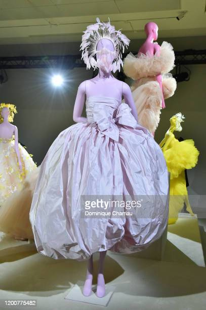 Outfit in display during the Giambattista Valli Haute Couture Spring/Summer 2020 show as part of Paris Fashion Week on January 20, 2020 in Paris,...