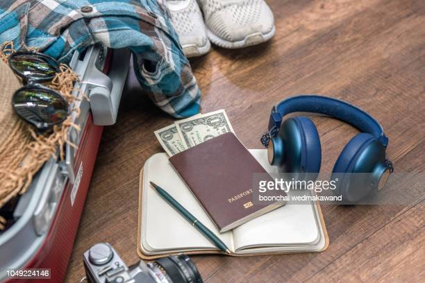 outfit of traveler on wood background with copy space, travel concept - personal accessory stock pictures, royalty-free photos & images