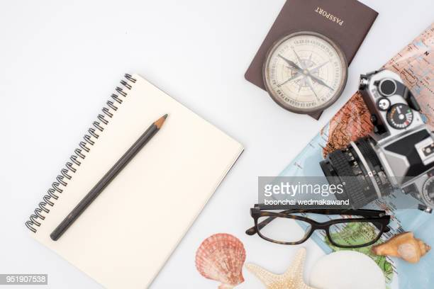 Outfit of traveler on wood background with copy space, Travel concept