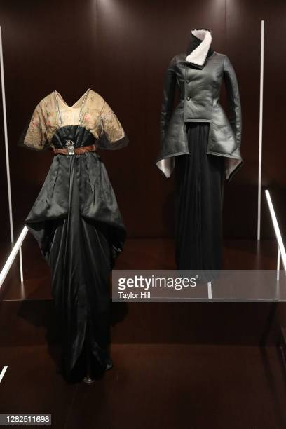 """Outfits on display at the press preview for the Costume Institute's annual exhibition """"About Time: Fashion and Duration sponsored by Louis Vuitton at..."""