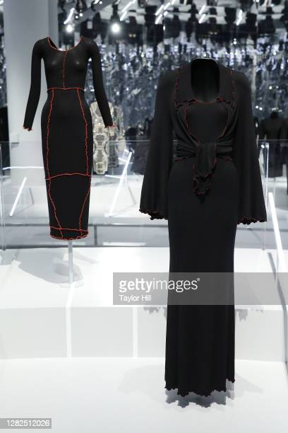 Outfits on display at the press preview for the Costume Institute's annual exhibition About Time Fashion and Duration sponsored by Louis Vuitton at...