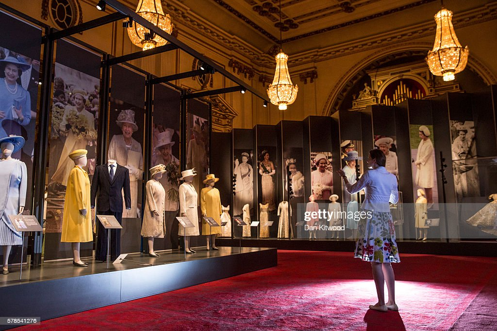 Outfits worn by Queen Elizabeth II are displayed during a photocall at Buckingham Palace on July 21, 2016 in London, England. The piece makes up part of a forthcoming exhibit 'Fashioning a Reign: 90 Years of Style from The Queen's Wardrobe' to coincide with the Summer Opening of Buckingham Palace. The exhibit includes outfits worn by the Queen from State events to family celebrations and runs until October 2, 2016.