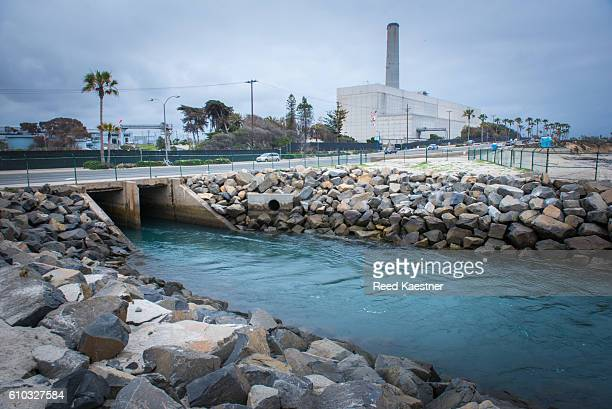 Outflow at the Desalination plant Carlsbad, California, United States.