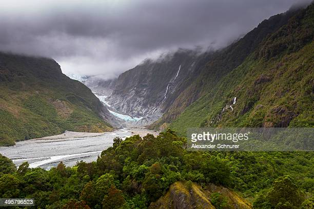 Outflow of the glacier tongue of the Franz Josef Glacier, Franz Josef Glacier, Westland National Park, West Coast Region, New Zealand