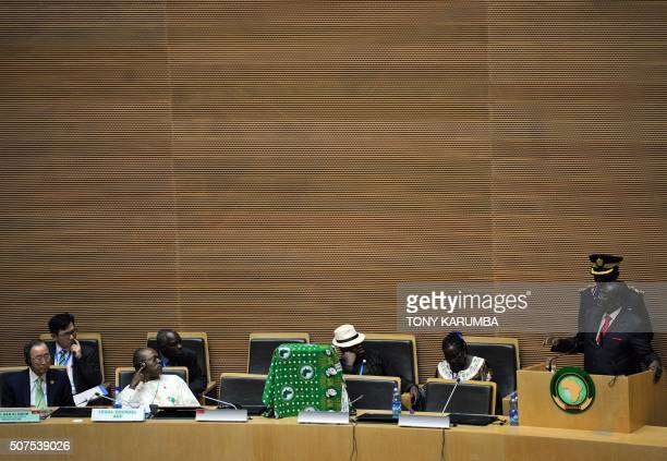 Outgoing African Union Chairman and Zimbabwe's President Robert Mugabe delivers his address to the 26th presidential summit of the African Union on...