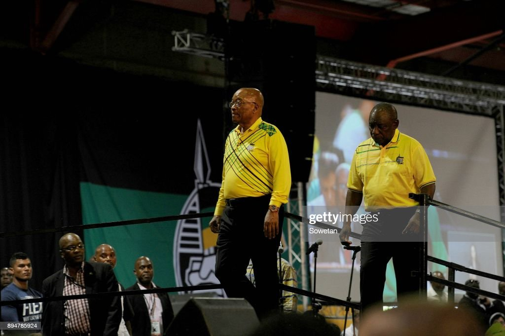 Outgoing ANC President Jacob Zuma and his deputy Cyril Ramaphosa during Zumas final speech at the partys 54th national elective conference at the Nasrec Expo Centre on December 16, 2017 in Johannesburg, South Africa. In his speech Zuma reminded the ANC of the journey it had taken in 2017 remembering the longest-serving president of the ANC Oliver Reginald Tambo.