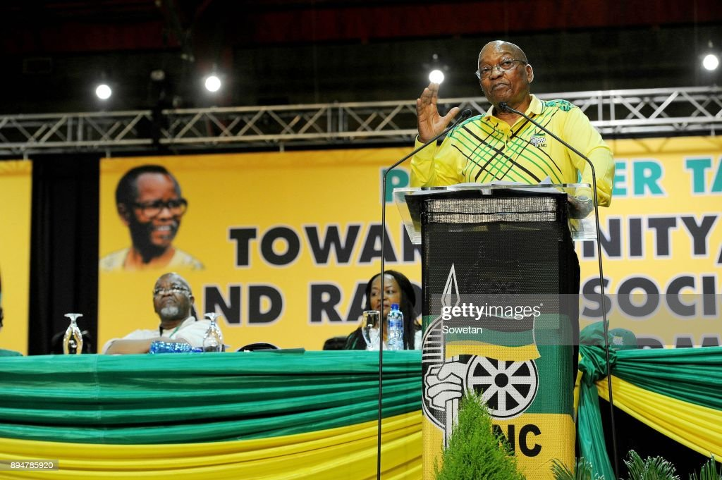 Outgoing ANC President Jacob Zuma delivers his last speech at the partys 54th national elective conference at the Nasrec Expo Centre on December 16, 2017 in Johannesburg, South Africa. In his speech Zuma reminded the ANC of the journey it had taken in 2017 remembering the longest-serving president of the ANC Oliver Reginald Tambo.