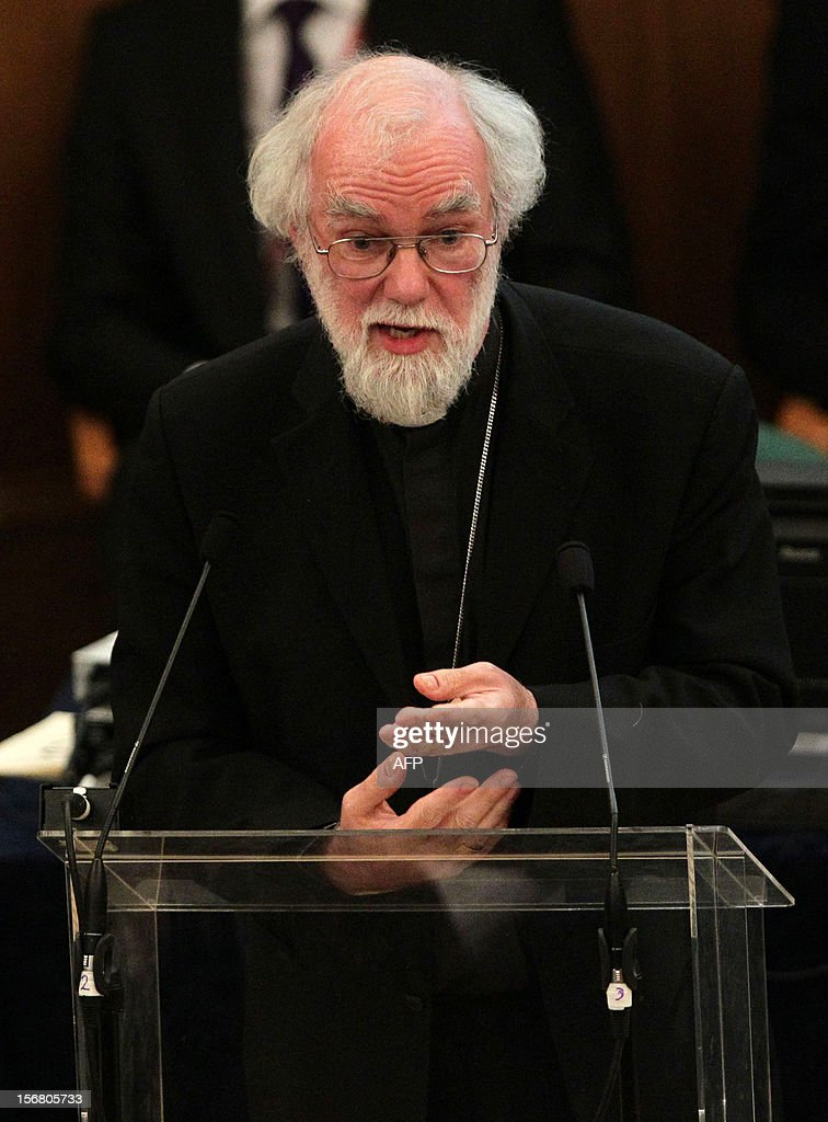 Outgoing Archbishop of Canterbury Rowan Williams gives his farewell speech during the General Synod of the Church of England, at Church House in central London on November 21, 2012. The Church of England has 'undoubtedly' lost credibility after voting to reject the appointment of women bishops, its leader the Archbishop of Canterbury said on November 21.