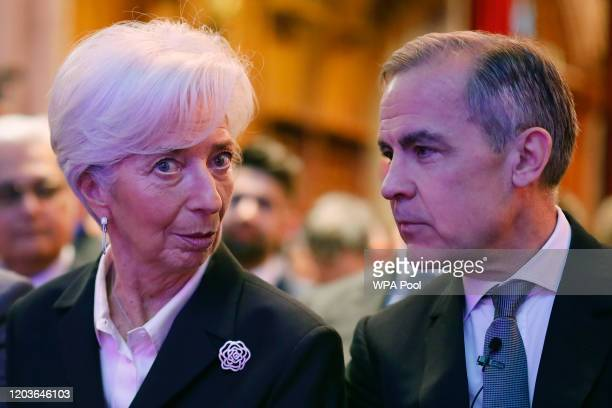 Outgoing Bank of England governor Mark Carney COP26 Finance Adviser to the Prime Minister talks with President of the European Central Bank Christine...
