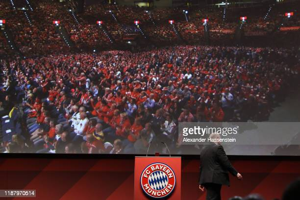 Outgoing Bayern Muenchen president Uli Hoeness leaves the stage after his last speech during the annual general meeting of FC Bayern Muenchen at...