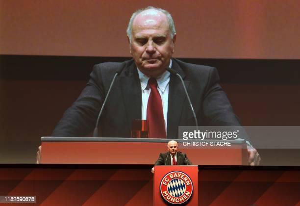 Outgoing Bayern Munich president Uli Hoeness addresse the annual general meeting of the German first division Bundesliga football club FC Bayern...