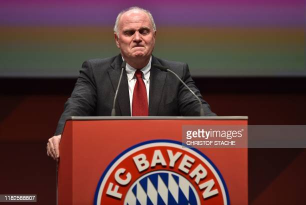 Outgoing Bayern Munich president Uli Hoeness addresses the annual general meeting of the German first division Bundesliga football club FC Bayern...