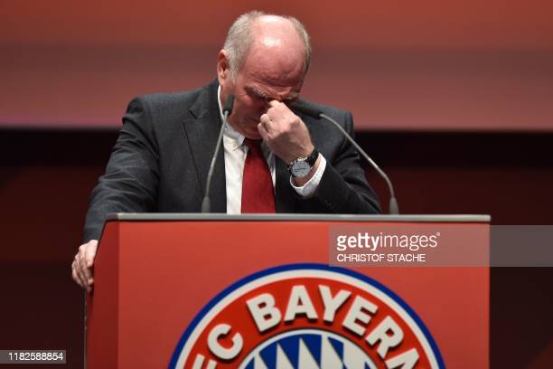 Outgoing Bayern Munich president Uli Hoeness gets emotional as he addresses the annual general meeting of the German first division Bundesliga...