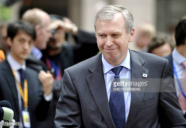 Outgoing Belgian Prime Minister Yves Leterme arrives for the EU summit on July 21 2010 at the European Council headquarters in BrusselsEurozone...