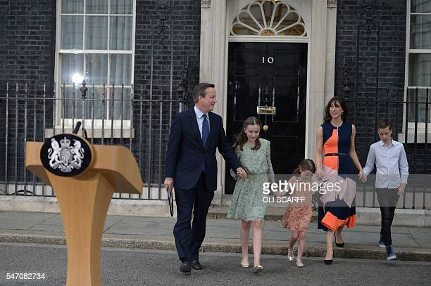 Outgoing British prime minister David Cameron leaves 10 Downing Street with his family his daughter Nancy Gwen daughter Florence Rose Endellion his...