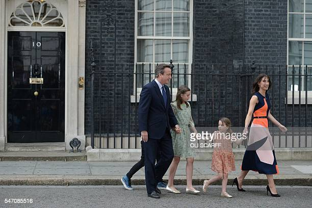 Outgoing British prime minister David Cameron leaves 10 Downing Street with his family son Arthur Elwen his daughter Nancy Gwen daughter Florence...