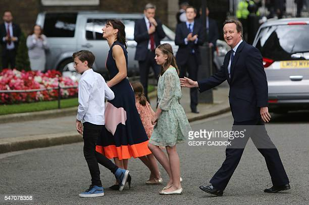 Outgoing British prime minister David Cameron leaves with his family son Arthur Elwen wife Samantha daughter Florence Rose Endellion and daughter...