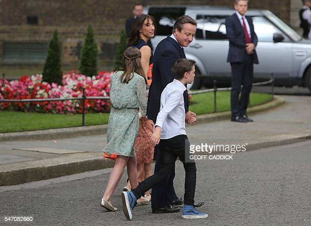 Outgoing British prime minister David Cameron leaves with his family daughter Nancy Gwen wife Samantha daughter Florence Rose Endellion and son...