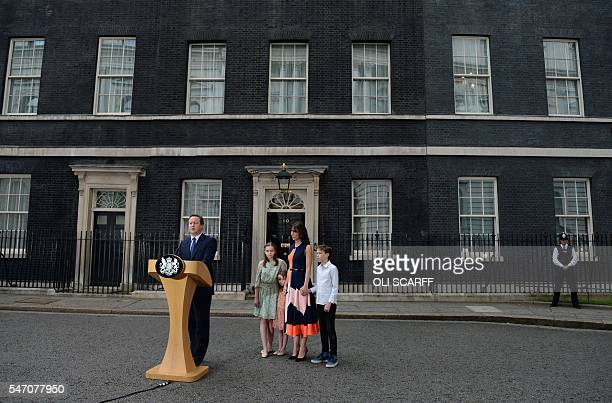 Outgoing British prime minister David Cameron speaks beside his daughter Nancy Gwen daughter Florence Rose Endellion his wife Samantha Cameron and...