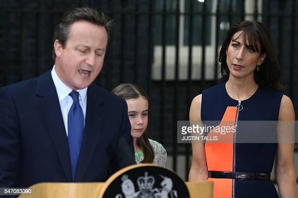 Outgoing British prime minister David Cameron speaks outside 10 Downing Street beside his daughter Nancy Gwen and his wife Samantha Cameron in...