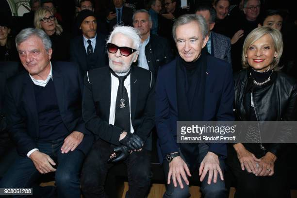 Outgoing CEO of Dior Sidney Toledano stylist Karl Lagerfeld owner of LVMH Luxury Group Bernard Arnault and his wife Helene MercierArnault attend the...