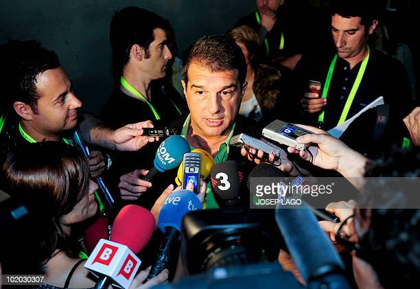 Outgoing chairman of Spanish champions Barcelona Joan Laporta speaks with journalists after casting his vote in Barcelona on June 13 2010 in an...