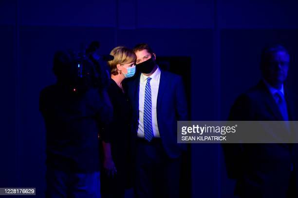 Outgoing Conservative Leader Andrew Scheer waits with wife Jill Scheer to deliver a speech at the Conservative party of Canada 2020 Leadership...