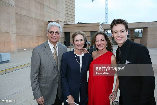 Outgoing CTG Board President Richard Kagan with wife Actress Julie Hagerty, Castmember Actress Jackie Seiden and Castmember Actor Erich Bergen pose...