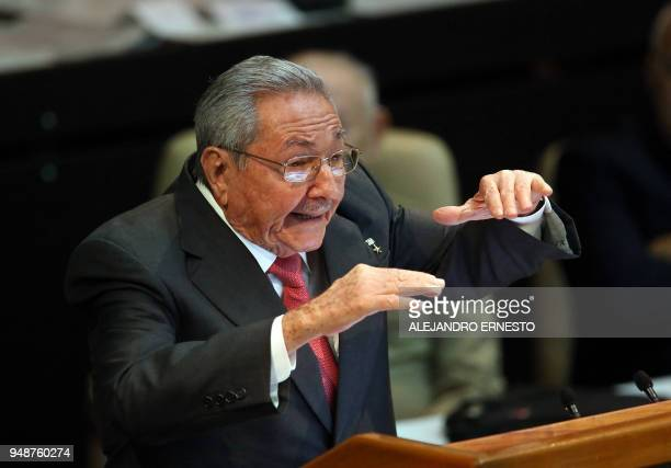 Outgoing Cuban President Raul Castro delivers a speech after Miguel DiazCanel was formally named Cuban President by the National Assembly in Havana...