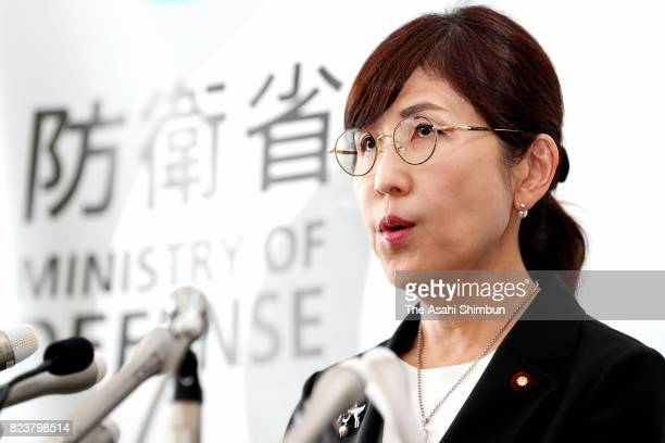 Outgoing Defense Minister Tomomi Inada attends a press conference at the Defense Ministry on July 28 2017 in Tokyo Japan Prime Minister Shinzo Abe...